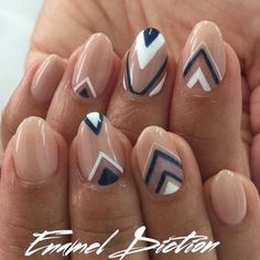 Summer's nude gets a fall update with this Geometric Neutrals & Navy Nail Design, created by nail artist Fariha Ali for LA salon @enameldiction. http://thestir.cafemom.com/beauty_style/190335/fall_nail_art_10_pretty