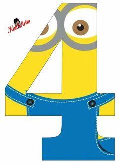Számkártya minion 4 Minions Birthday Theme, Birthday Numbers, 4th Birthday, Minion Mask, Minion Candy, Minion Classroom, Minions 4, Minion Craft, Party Fiesta