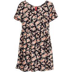 H&M Crinkled dress (£9) ❤ liked on Polyvore featuring dresses, vestidos, floral, h&m, short floral dresses, flower print dress, flower pattern dress and mini dress