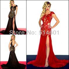 Online Shop Free Shpping Designer Cap Sleeve Open Back Prom Dress Front Split Chiffon Lace Evening Dress 2013|Aliexpress Mobile