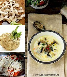 Ciorba a la grec de ciuperci ~ bucatar maniac Food Hacks, Food Tips, Food Ideas, Hummus, Soup Recipes, Deserts, Ethnic Recipes, Blog, Supe