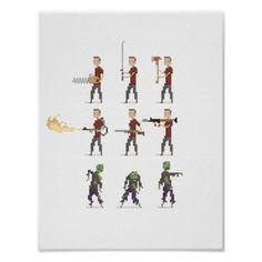 8-Bit Zombie Apocalypse Pixel Art Poster Poster