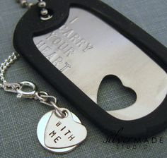 Military Stainless dogtag and sterling by SilverMadeStudio on Etsy Sterling Necklaces, Sterling Silver Rings, Heart Bracelet, Bracelets, Military Love, Military Dating, I Carry Your Heart, Army Girlfriend, Custom Dog Tags