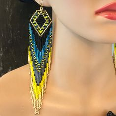 Excited to share the latest addition to my shop: Luxury Glass Seed Bead Earrings Native American Beaded Shoulder Dusters seed beads Fusion Treats Aztec Earrings, Beaded Earrings Native, Beaded Tassel Earrings, Jewellery Earrings, Seed Bead Earrings, Fringe Earrings, Earrings Handmade, Seed Beads, Beaded Jewelry