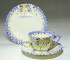 """Zenith design, """"Lemon Tree"""", a descriptor according to Elizabeth Coupe. True pattern name unknown. Vintage China, Vintage Tea, Imperial Design, China Cups And Saucers, Chocolate Cups, Art Deco Period, Tea Service, Coffee Set, Vintage Pottery"""