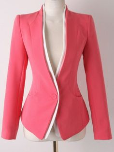 Red Long Sleeve Single Button Slim Blazer