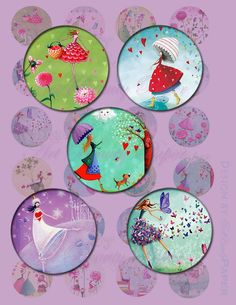 Hippy Girl circles 2inch ,1.5 inch and 1 inch circles for jewelry making on Digital collage sheet , Printable Instant Download