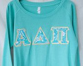 Sea Foam Crew With Alpha Delta Pi Lilly On Metallic Gold