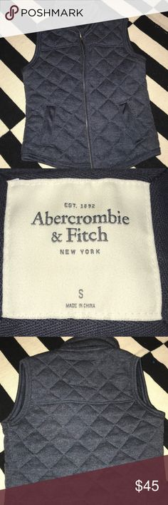 Women's navy vest Abercrombie and Fitch Women's size S Abercrombie and Fich navy best. Super nice inner material and quilt like soft material on the outside. NEVER WORN!! Super cute.  No trades but OPEN TO OFFERS! Abercrombie & Fitch Jackets & Coats Vests