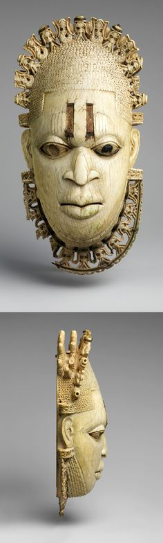 Nigeria | Queen mother pendant mask (Iyoba) from the Edo people of the court of Benin | Ivory, iron and copper.  H:  23.8 cm | 16th century