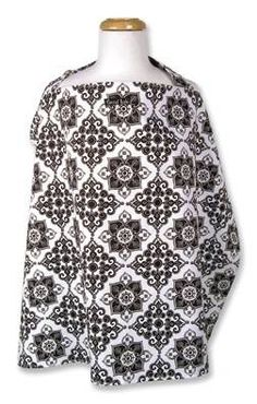 The Versailles Black & White Nursing Cover fits easily into diaper bag or purse. It has an adjustable neck strap with D ring for comfortable fit. One size fits all. 100% cotton percale. Approximately 24 #tinytotties