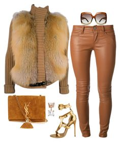 A fashion look from October 2015 featuring Gucci jackets, Current/Elliott pants and Yves Saint Laurent shoulder bags. Browse and shop related looks. Classy Outfits, Chic Outfits, Fashion Outfits, Womens Fashion, Fall Winter Outfits, Autumn Winter Fashion, Moda Afro, Vestidos Plus Size, Vetement Fashion
