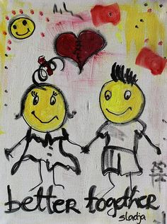 Better Together by Sladjana Lazarevic Better Together, Love Art, My Arts, Greeting Cards, Snoopy, Wellness, Wall Art, Painting, Inspiration