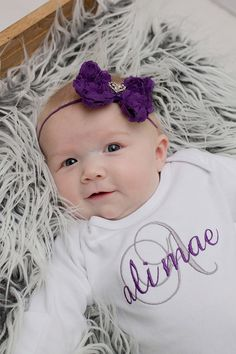 Personalized Purple  / Gray Baby Girl Coming Home by juniegrace, $30.95
