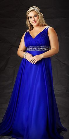 ab206802f44 V Neck Beading Chiffon Floor Length Royal Blue Plus Size Dresses For Prom