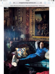 Howard Slatkin in his New York screening room, from T Magazine on his book Fifth Avenue Style .  Photo by Simon Watson.