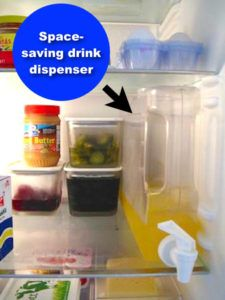 #9. Use a skinny fridge drink dispenser for your favorite beverage (saves space and makes for an easy pour). |11 Brilliant Fridge Organization Ideas