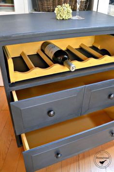 An old side table is repurposed into an awesome rolling-wine-cart www.homeroad.net
