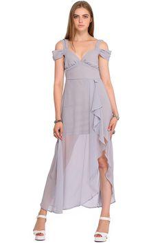 ROMWE Asymmetric Off-shoulder Split Side Grey Crepe Dress