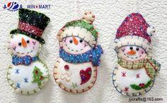 "5"" stitched santa snowman felt ornament"