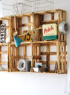 repurposed crate shelves