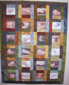 here is a photo quilt I made for my sister of her new grand child.