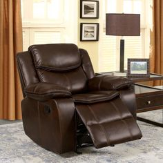 Furniture of America Lage Transitional Brown Leatherette Recliner (Brown)