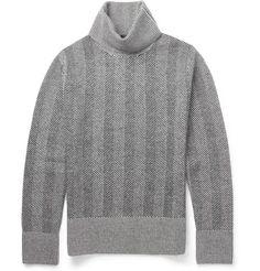 Alexander McQueenHerringbone-Knit Wool Rollneck Sweater