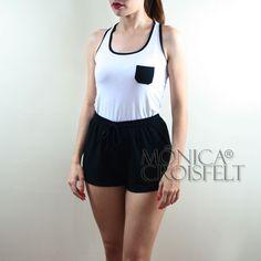 Conjunto Esporte, Regata Nadador Branca com Bolsinho Preto + Short Preto Básico #moda #basica #swag