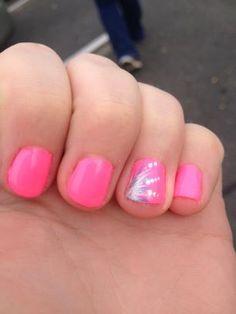 hot pink gel polish with nail art!