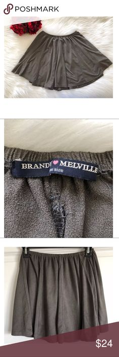 "Brandy Melville Gray Soft Mini Skirt ~One Size~ Brandy Melville Gray Soft Mini Skirt ~One Size~   Measures Approximately: total length 14"" waist across 11"" laying flat across   Item condition/notes: Gently worn. Has a suede like, soft texture Brandy Melville Skirts"