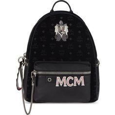 MCM Stark insignia medium velvet backpack ($1,340) ❤ liked on Polyvore featuring bags, backpacks, black, monogrammed bags, mcm bags, mcm, mcm backpack and logo bags