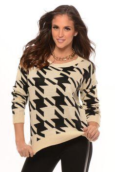 Ivory and Black Houndstooth Print Sweater Fashion Nova