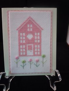 Little Pink House cross stitched