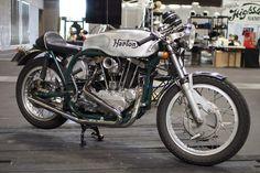 """Harton"" Harley-Davidson XLCH 1000 ""Ironhead"" engine & Norton ""Featherbed"" type frame | Belt drive primary transmission | Drum brakes | Japan | via RadJalopy.blogspot.com"