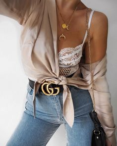 Knot Blouse – NAKD Fashion: Here Bodysuit – Gooseberry Intimates: Here Jeans – Asos: Here Crescent & Moon Necklaces – NAKD Fashion: Here &  Here Pendant – Cinc…