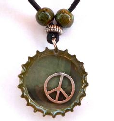 Bottle Cap Necklace PEACE on Earth Recycled by @Pir8t on Etsy #teamupcyclers