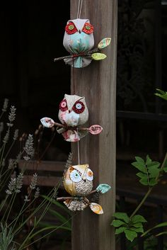 My new owl ornament is now available in my SHOP . Owl on a Stick is suited to crafters of any skill level. They are easy to stu. Scrap Fabric Projects, Small Sewing Projects, Fabric Crafts, Sewing Crafts, Owl Fabric, Fabric Flowers, Christmas Bazaar Crafts, Japanese Handicrafts, Lavender Crafts