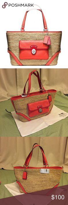 "🆕 Coach Straw & Leather Tote w/ Pocket NWT Coach Straw Pocket Tote in Natural Tangerine w/ 2 hang tag charms! Orange & Red leather trim on a woven straw shoulder tote w/ silver hardware. Has a hook & loop closure & cute rivet  feet on the bottom. Comes w/ dust bag. Large capacity bag (see pic w/ my 13"" MacBook Air) but doesn't look big on my petite 5'0 frame. Keeps its shape fairly well so it's versatile. Its boho chic business casual look is perfect for school, work, beach, vacation…"