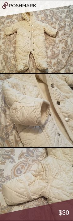 3mon snowsuit Warm and cuddly cream/tan quilted snow suit. Only used a few times. In mint condition.  Size 3mon. Other