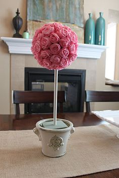 party streamer paper roses-decoration for baby shower that you can use at home afterwards! perfect!