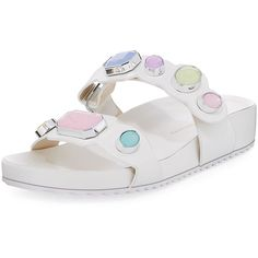 Sophia Webster Cabochon-Studded Two-Band Slide Sandal (10 375 UAH) ❤ liked on Polyvore featuring shoes, sandals, shoes sandals, white pattern, studded shoes, white studded shoes, patterned shoes, mid wedge shoes and white studded sandals