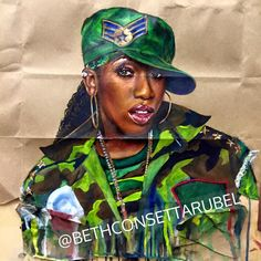 Paper Bag Test: Missy Elliott Colored pencil, marker, gouache, ink on paper bag by Beth Consetta Rubel http://www.bethconsettarubel.com/ http://consetta.deviantart.com/ https://www.instagram.com/bethconsettarubel/ https://twitter.com/Consetta_Artist https://www.facebook.com/consettarubelartist consetta.rubel@gmail.com