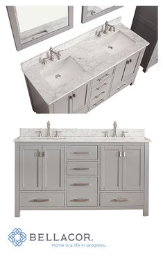 The Modero 60-Inch double vanity has a simple clean design with a chic Chilled Gray finish and brushed nickel hardware. It is constructed of solid poplar wood and veneer with soft-close doors and drawers that showcase its quality. Match it with the natural beauty and durability of a stone top and you create the perfect vanity ensemble…