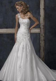 one shoulder wedding dress | Home > Bride > Organza One-Shoulder A-Line Elegant Wedding Dress