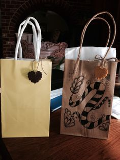 Zentangle gift bag with clay gift tags.