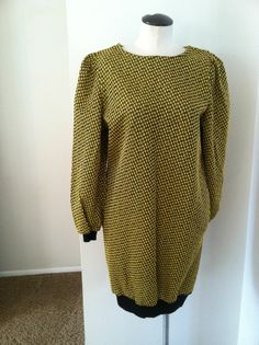 Vintage Textured Black and Yellow Dress/Tunic Great For Leggings