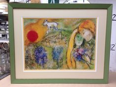 Chagall framed with fabric mat and anti reflective glass by ptgallery.com