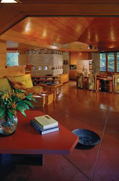 Beautiful - The living area of the William and Mary Palmer House in Ann Arbor, Michigan illustrates Frank Lloyd Wright's approach to interior design.