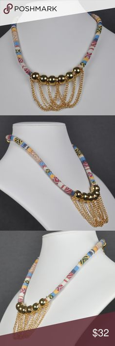 """Gold Bead & Yellow Fabric Statement Necklace This is a very unusual Necklace. Featuring round gold tone beads and chain accent the yellow fabric print.   Lobster clasp closure 18 1/4"""" + 2"""" extender  Smoke free pet friendly home  Internal SKU: YELLOWPRINT Jennies Jewels Jewelry Necklaces"""